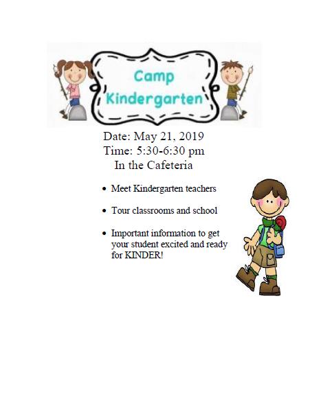 Camp Kindergarten Flyer for 5.21.19