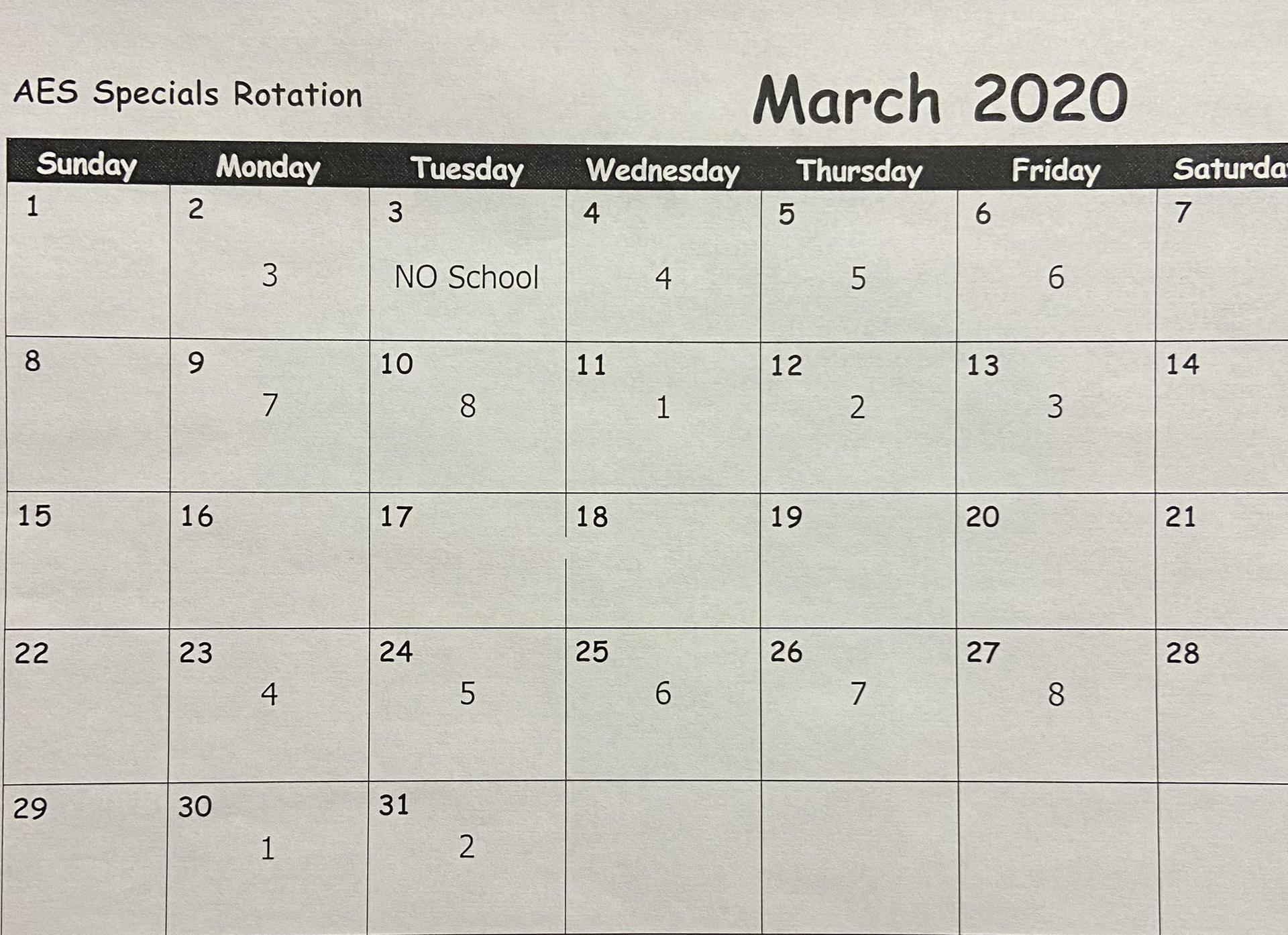 March Special's Calendar