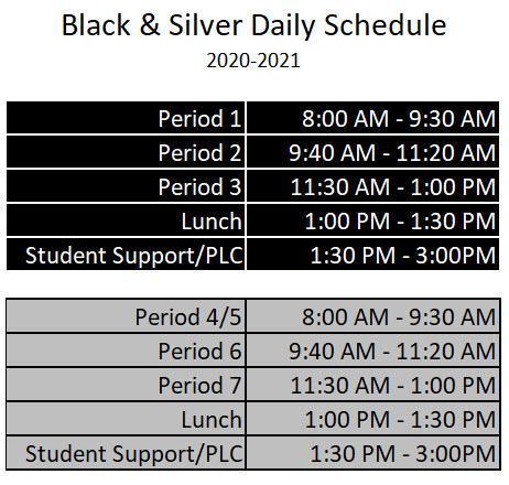 Black & Silver Schedule