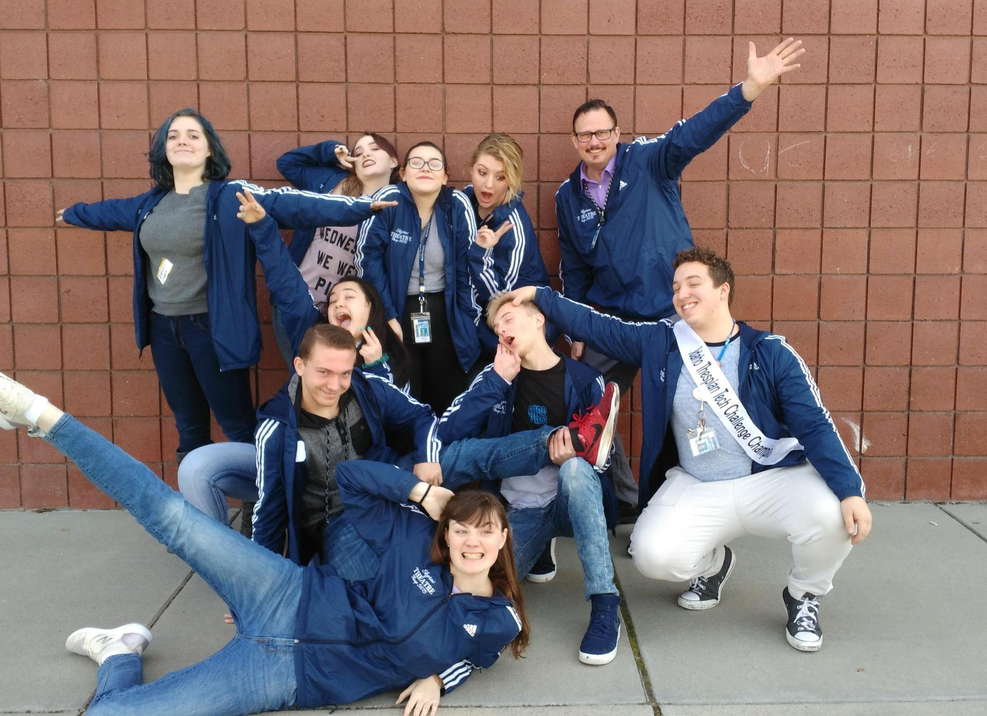 Drama students ham it up for the camera.