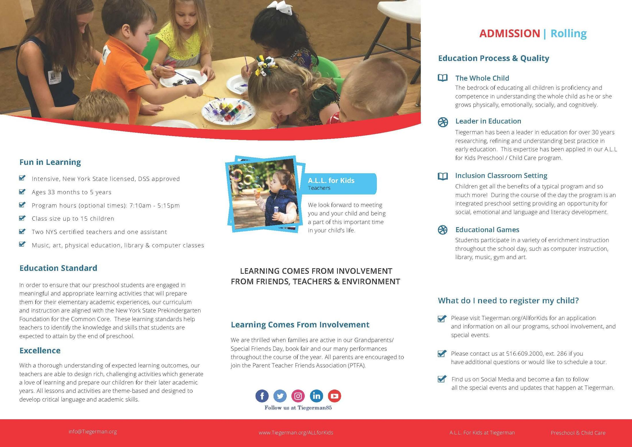 A L L  for Kids Child Care Program - Schools - Tiegerman