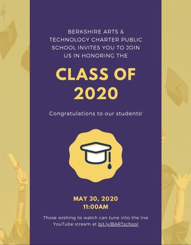 a yellow and purple graphic congratulating the Class of 2020 and detailing their virtual ceremony information
