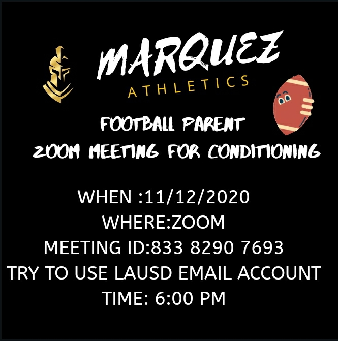 Football Parent Meeting | Thursday November 12, 2020 Thumbnail Image