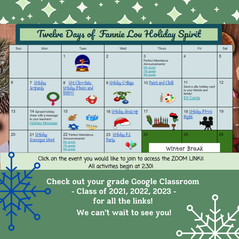 Graphic of 12 days calendar. Go to your class Google Classroom to access.