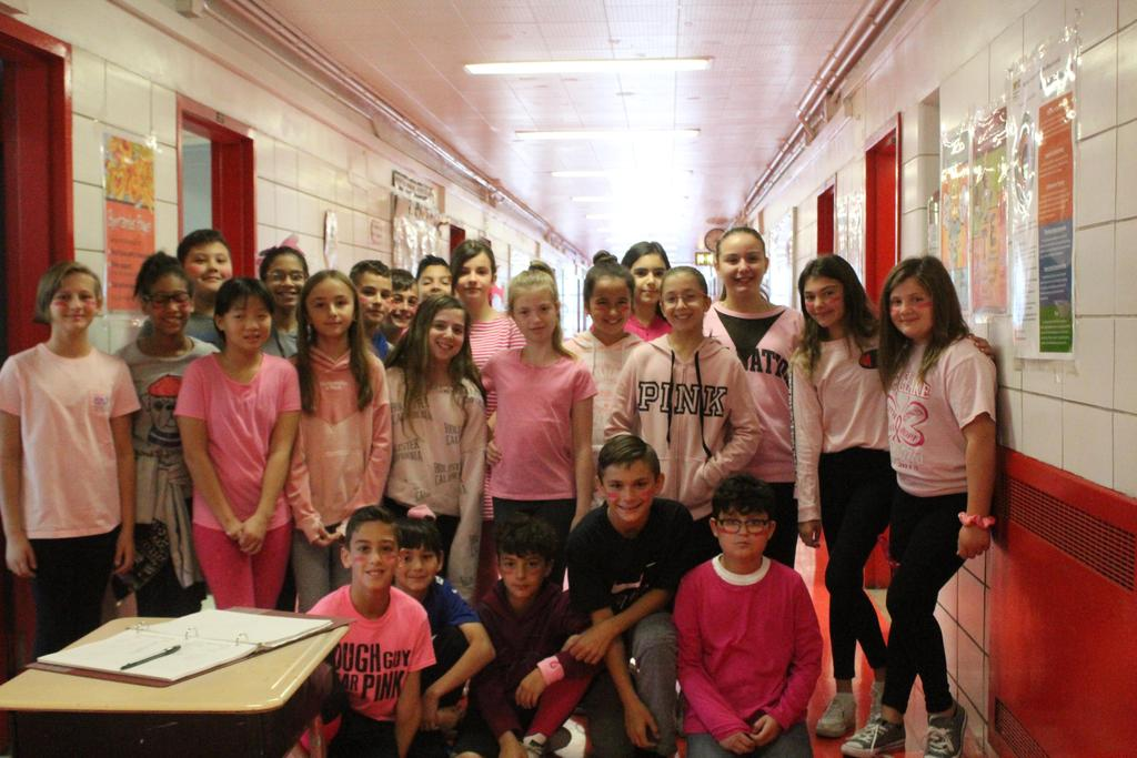 6th graders wear pink to raise awareness