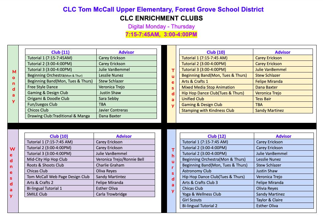 CLC Enrichment Clubs A Week at a Glance image