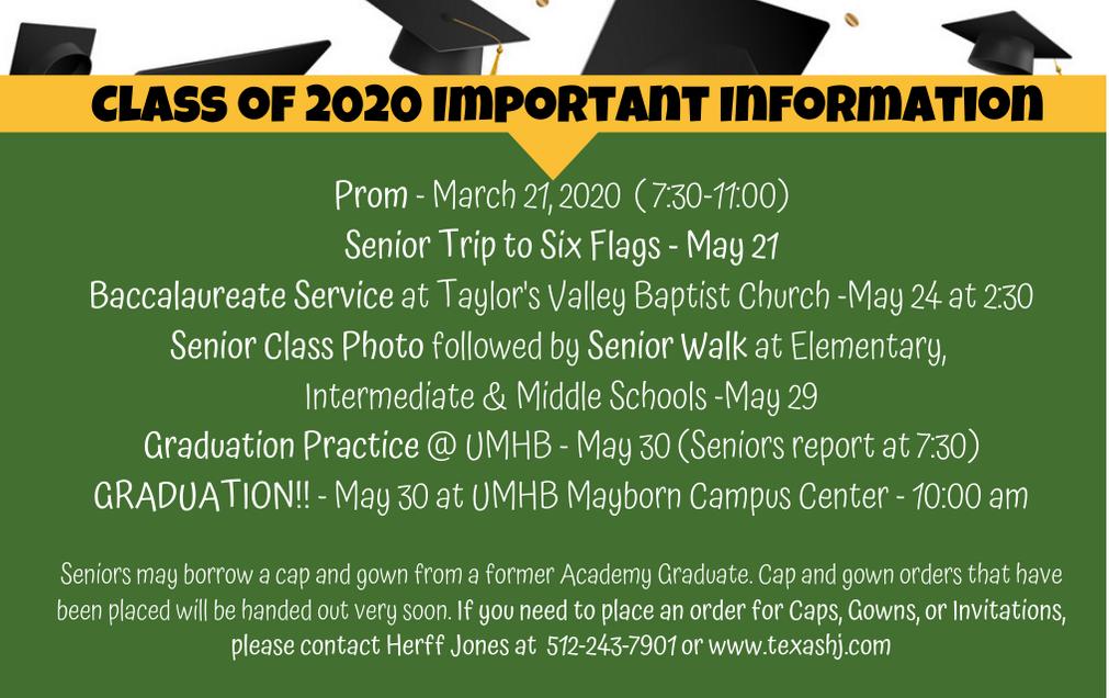 Senior Dates and Information