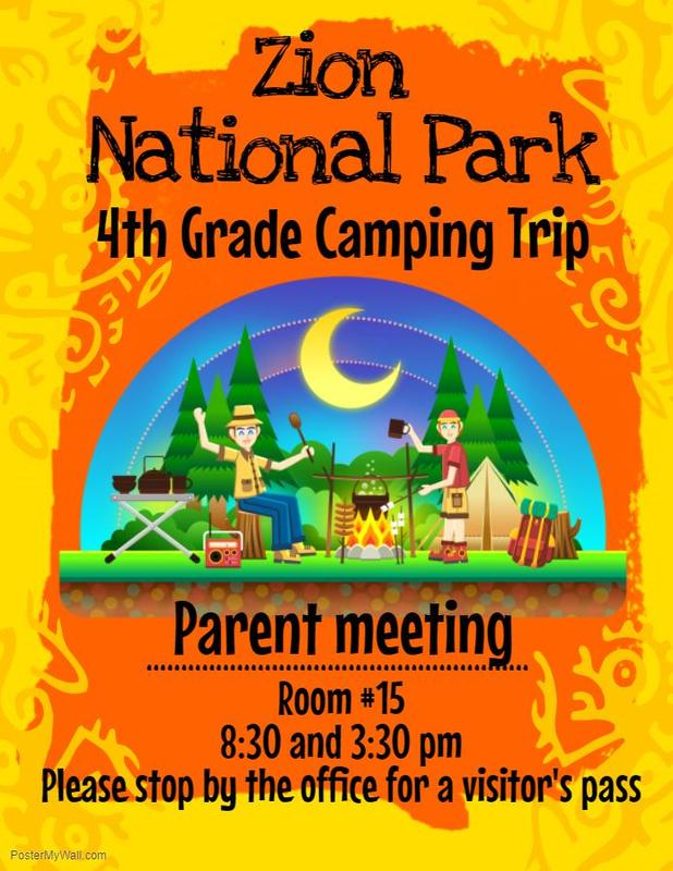 Zion National Park Parent Meeting (4th grade families only) Thumbnail Image