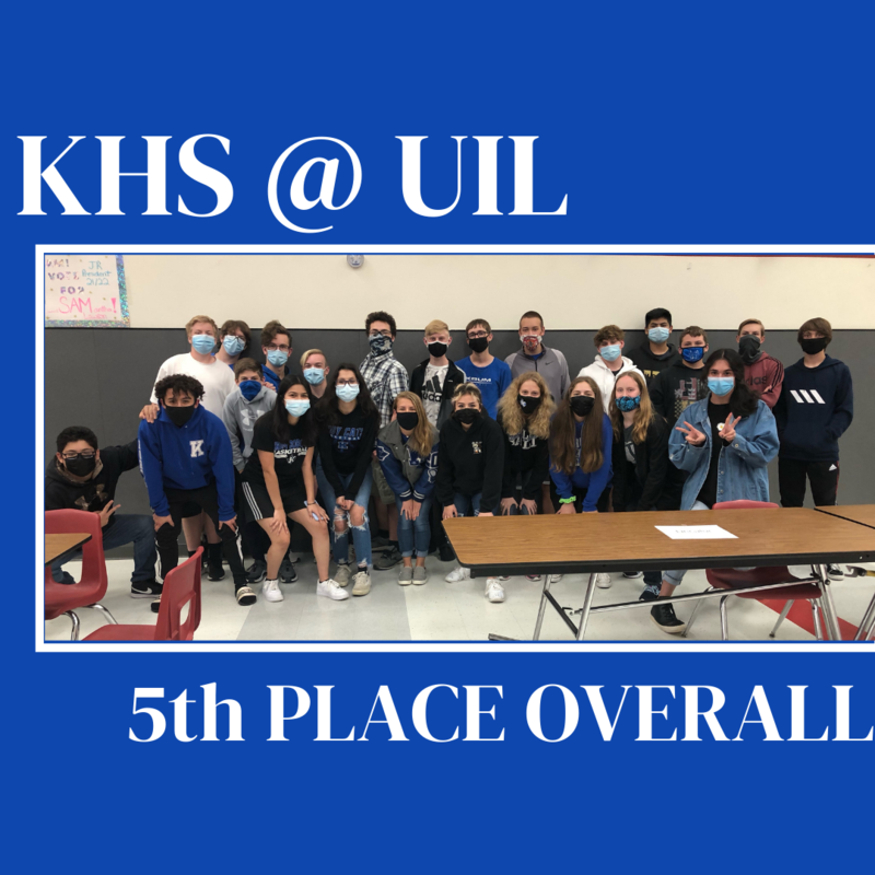 graphic shows group photo of students and text reading khs @ uil 5th place overall