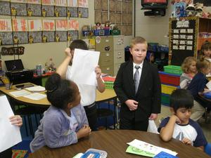 Second graders are dressed and ready to present information on Government Day.