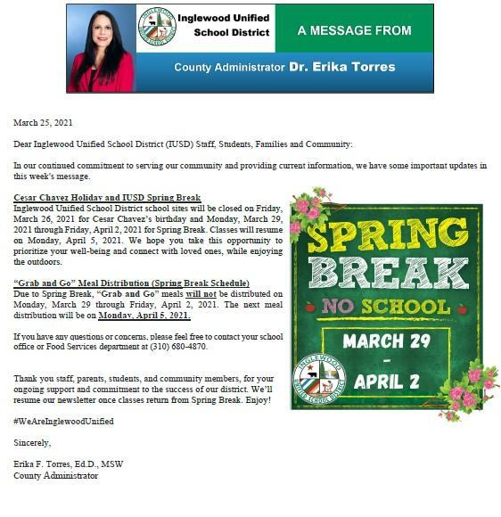 IUSD Communication to Parents, Staff, and Community - 3-25-2021 Featured Photo