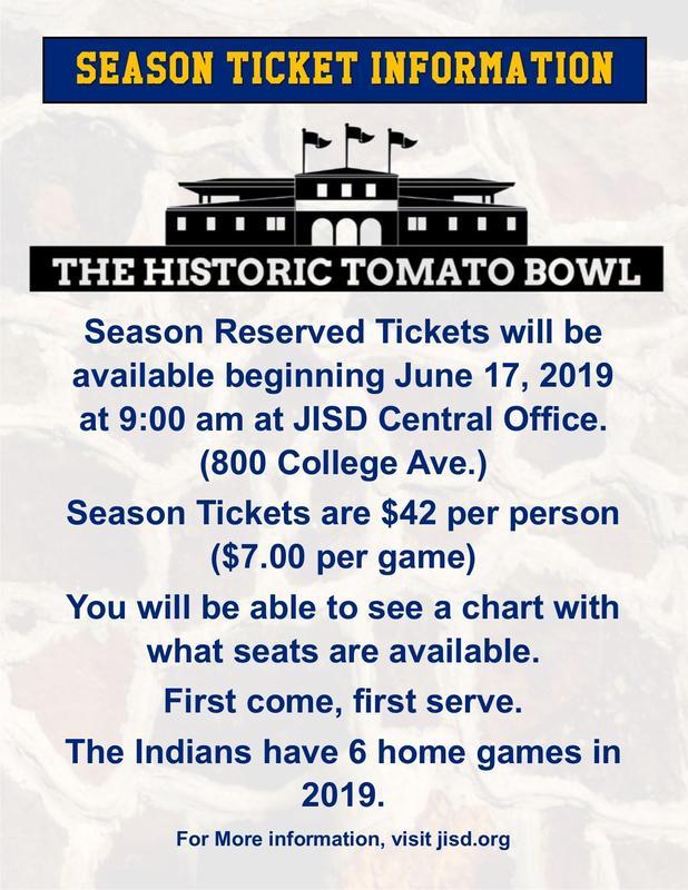 Season ticket information for the Tomato Bowl