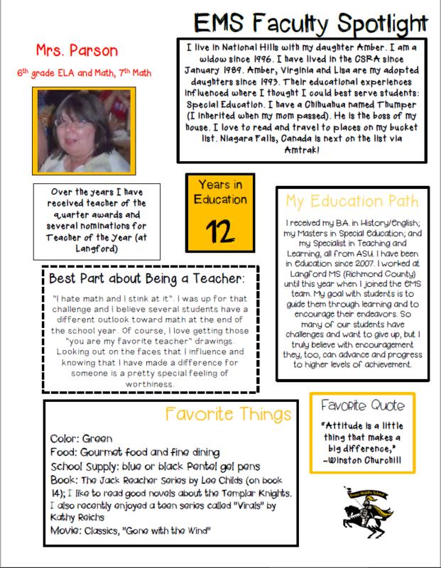 EMS Faculty Spotlight (Mrs. Parson)
