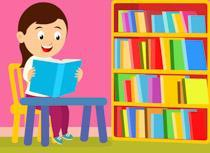 Cartoon girl reading in library