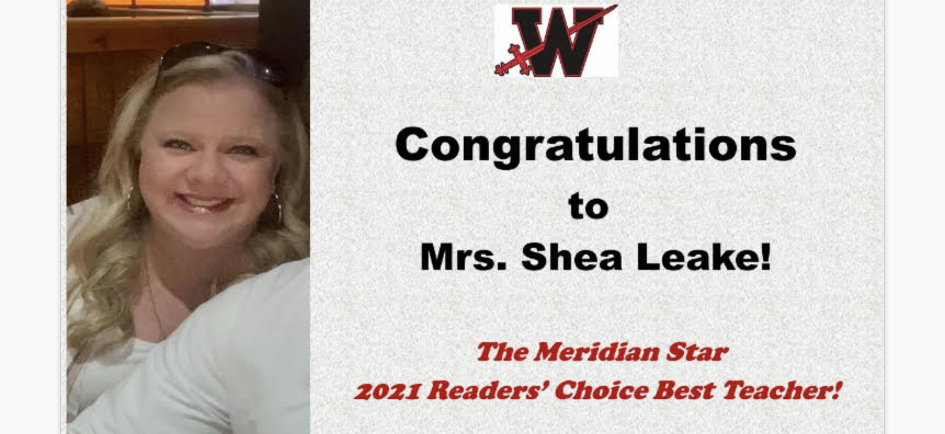 Congrats to Mrs Leake for being named Meridian's Choice teacher of the year