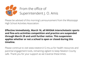 Announcement from the MHSAA