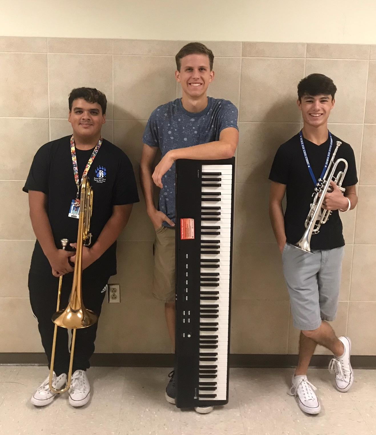 The Brewer High School band members were selected to the Region 30 All Region Jazz Band: Adam Bradley, piano; Aiden Owens, trumpet; and Nick Lopez, trombone.