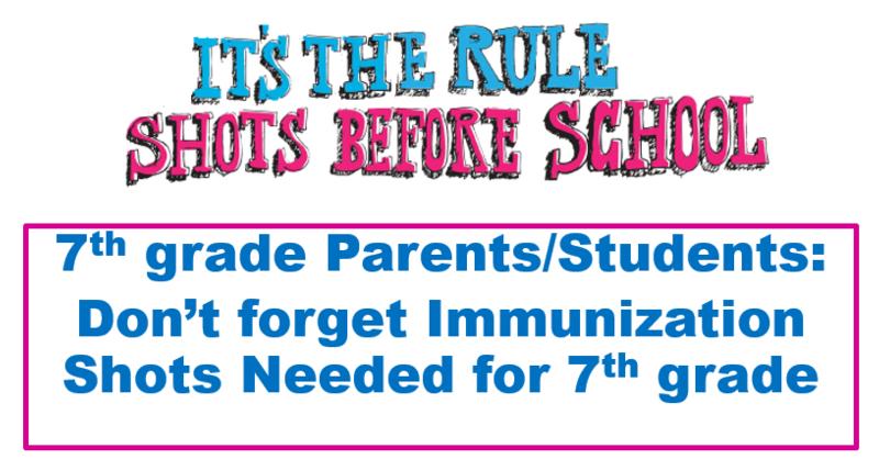 Immunization Required Prior to 7th Grade