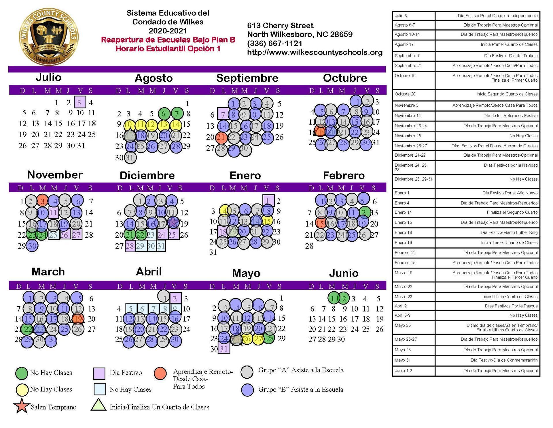 Wilkes County School Calendar 2021-2022