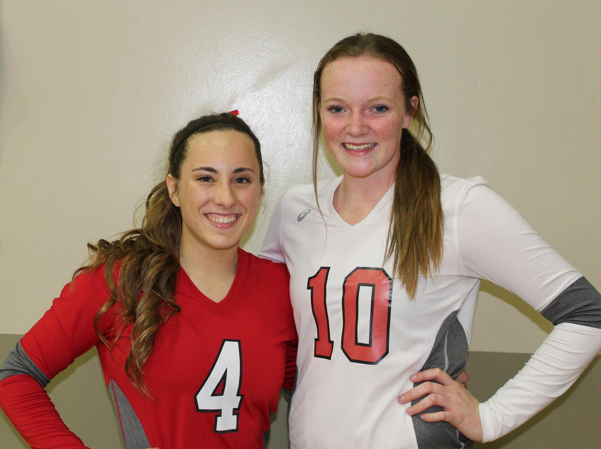 Hannah Mancebo and Tori Calley pose on Volleyball Senior Night.