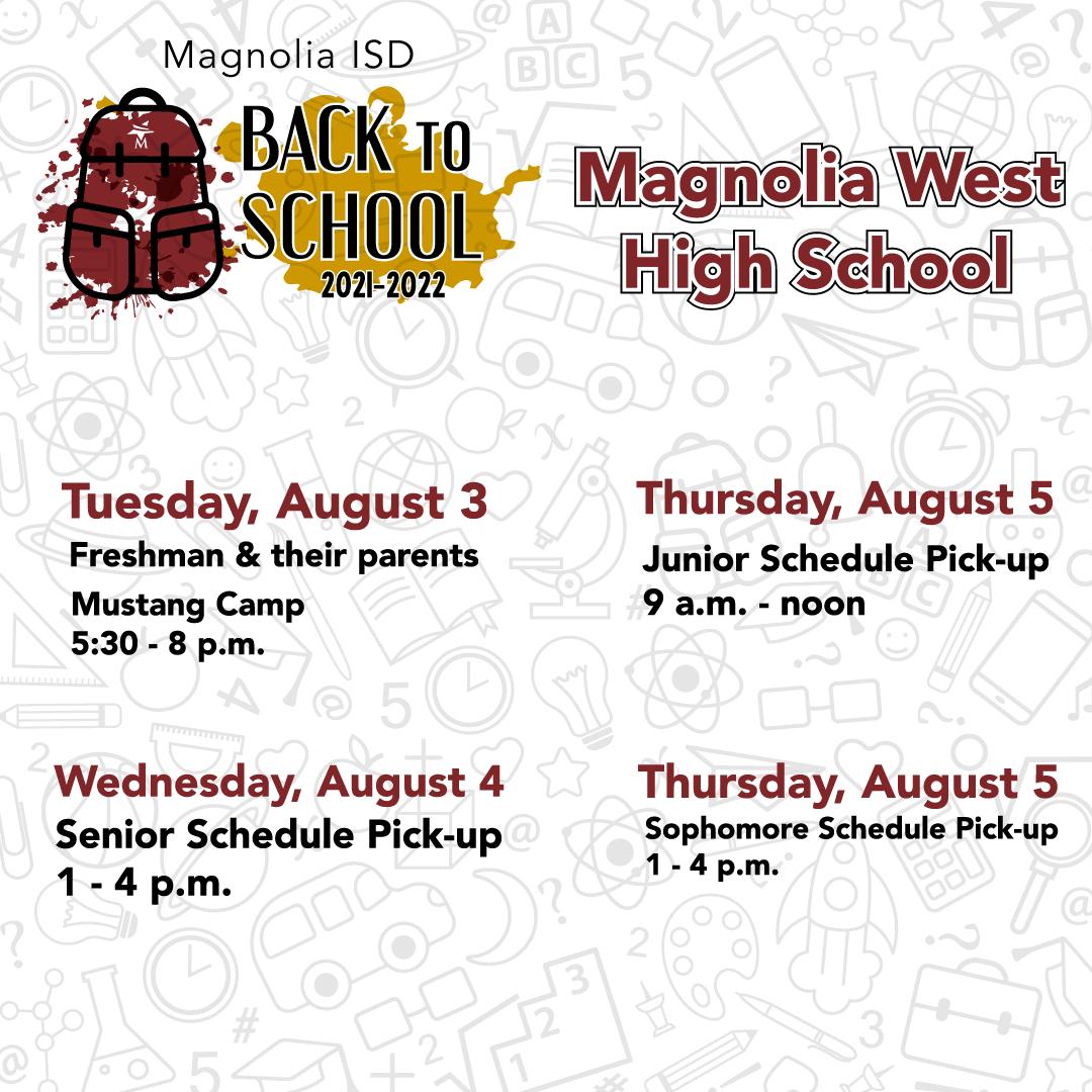 Magnolia West High School Back to School Schedule