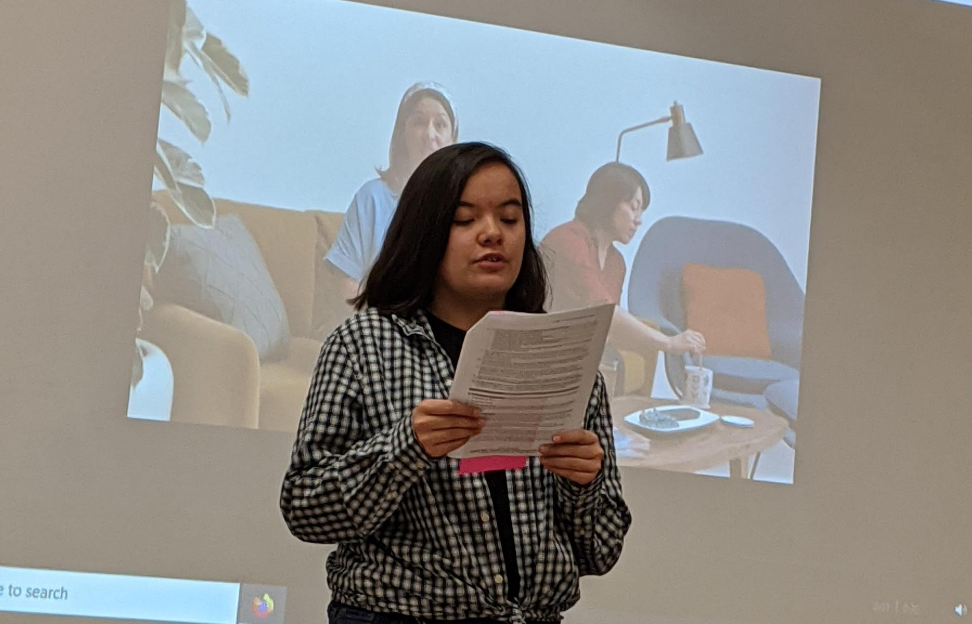 Student giving a report