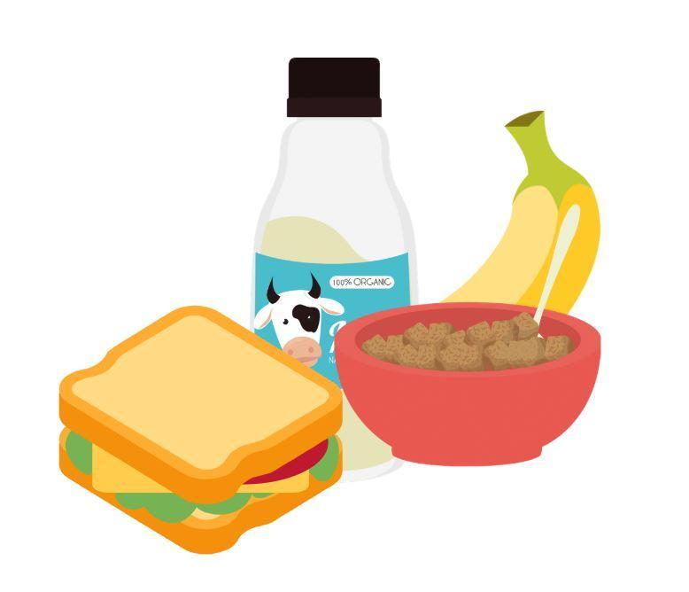 Image of sandwich, carton of milk, cereal, and banana.