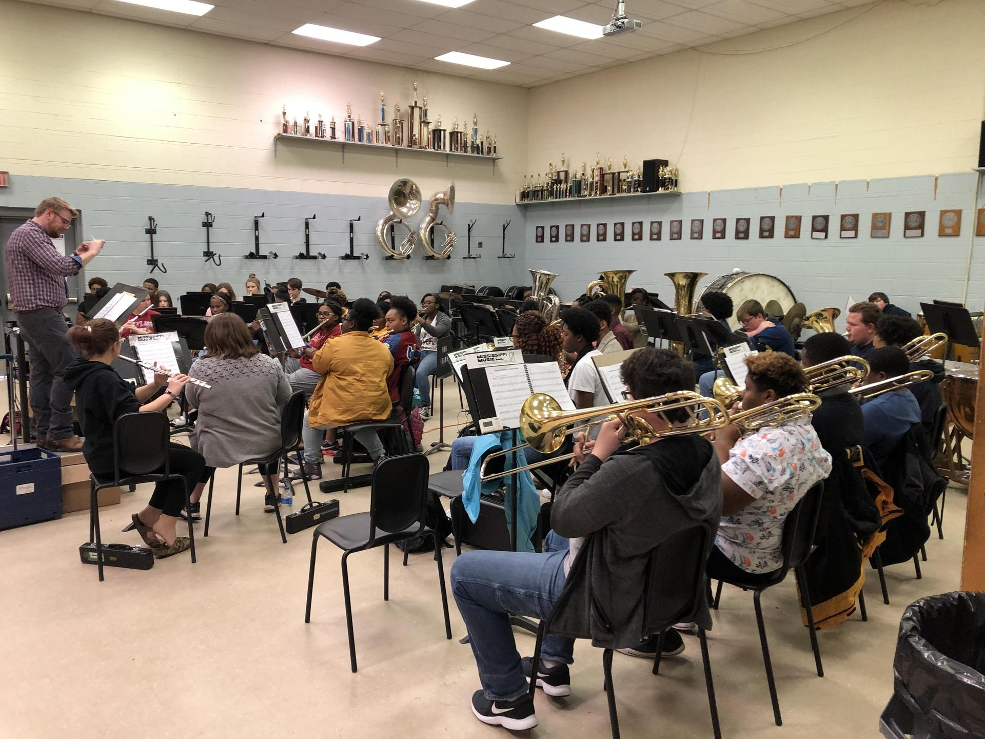Current Band Hall with 1/4 Band Students