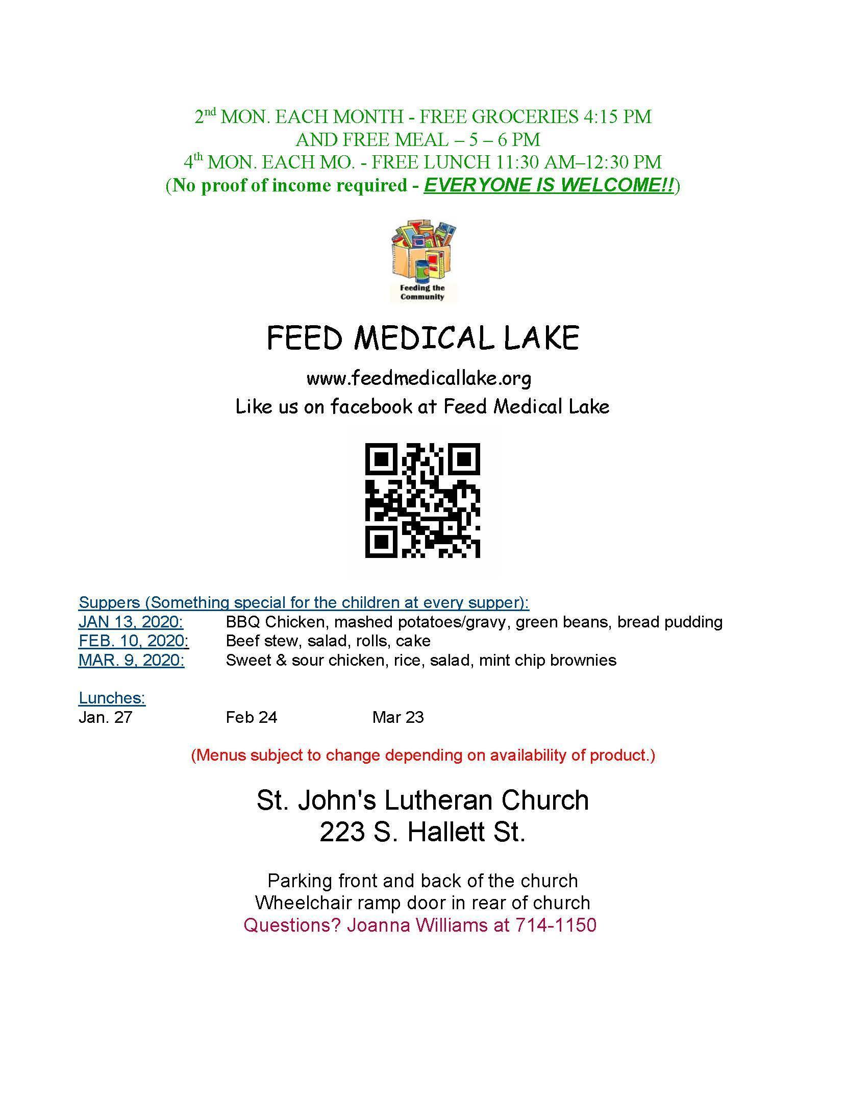 Feed Medical Lake Menu through March 2020