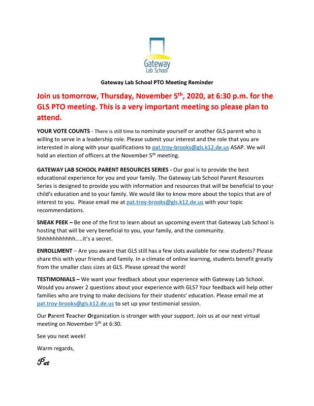 Gateway Friends and Family PTO Meeting Reminder Featured Photo