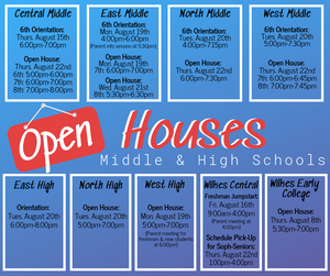 Middle and High School Open House Schedules