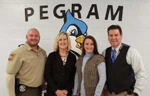 SRO Ricky Mallard, Director of Schools Dr. Cathy Beck, Principal Detra Emery and Sheriff Mike Breedlove