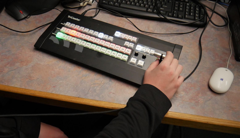 video control panel on desk