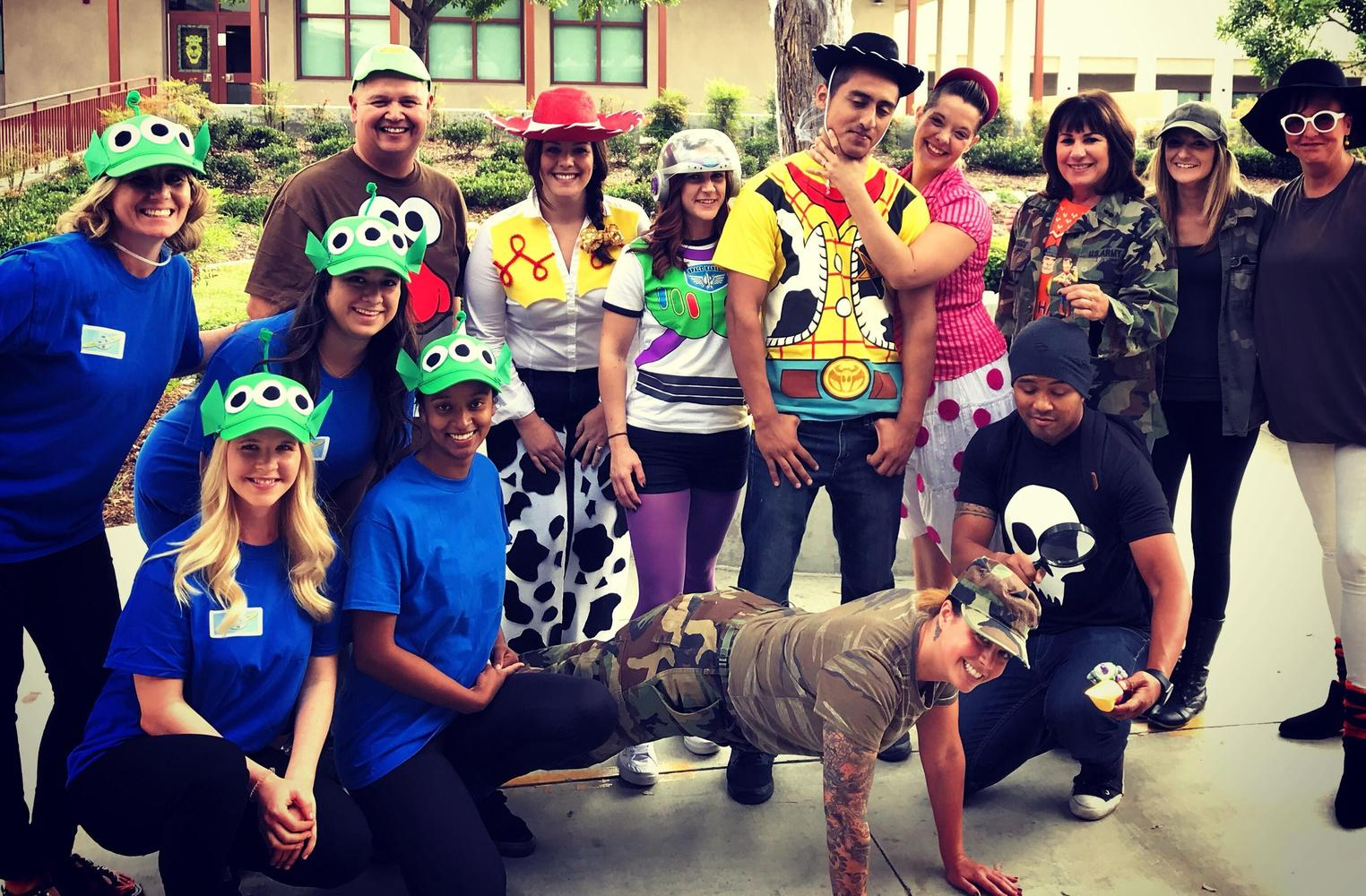 Special Ed staff dressed as Toy Story characters for Halloween