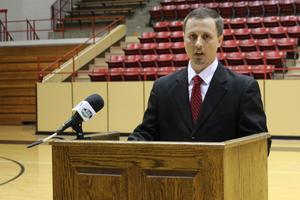 coach croft at podium