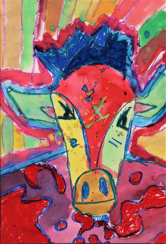 """Colorful Cow"" by Liam Beyer, Grade 4, Bear Branch Elementary, teacher Jessica McKinney"