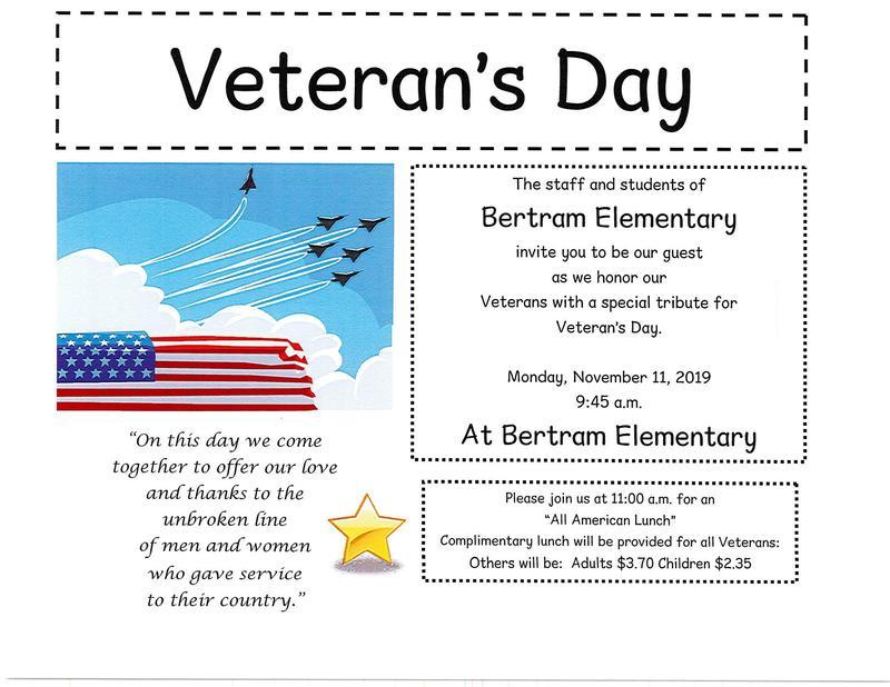 Veteran's Day Program at Bertram Elementary Monday, November 11th at 9:45 a.m. Thumbnail Image