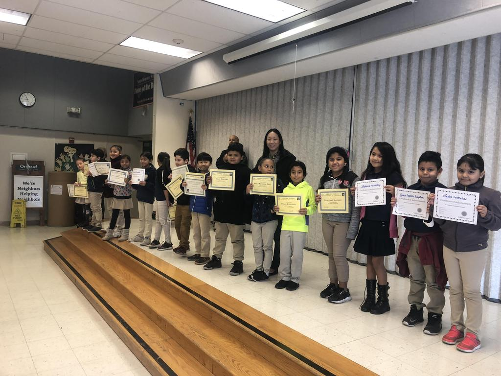 trimester one award winners in Ms. Maeda's class pose for picture