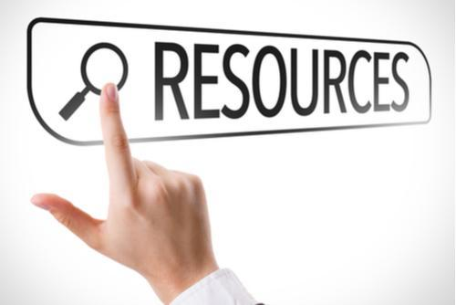 Image of a finger pointing to the word resources.