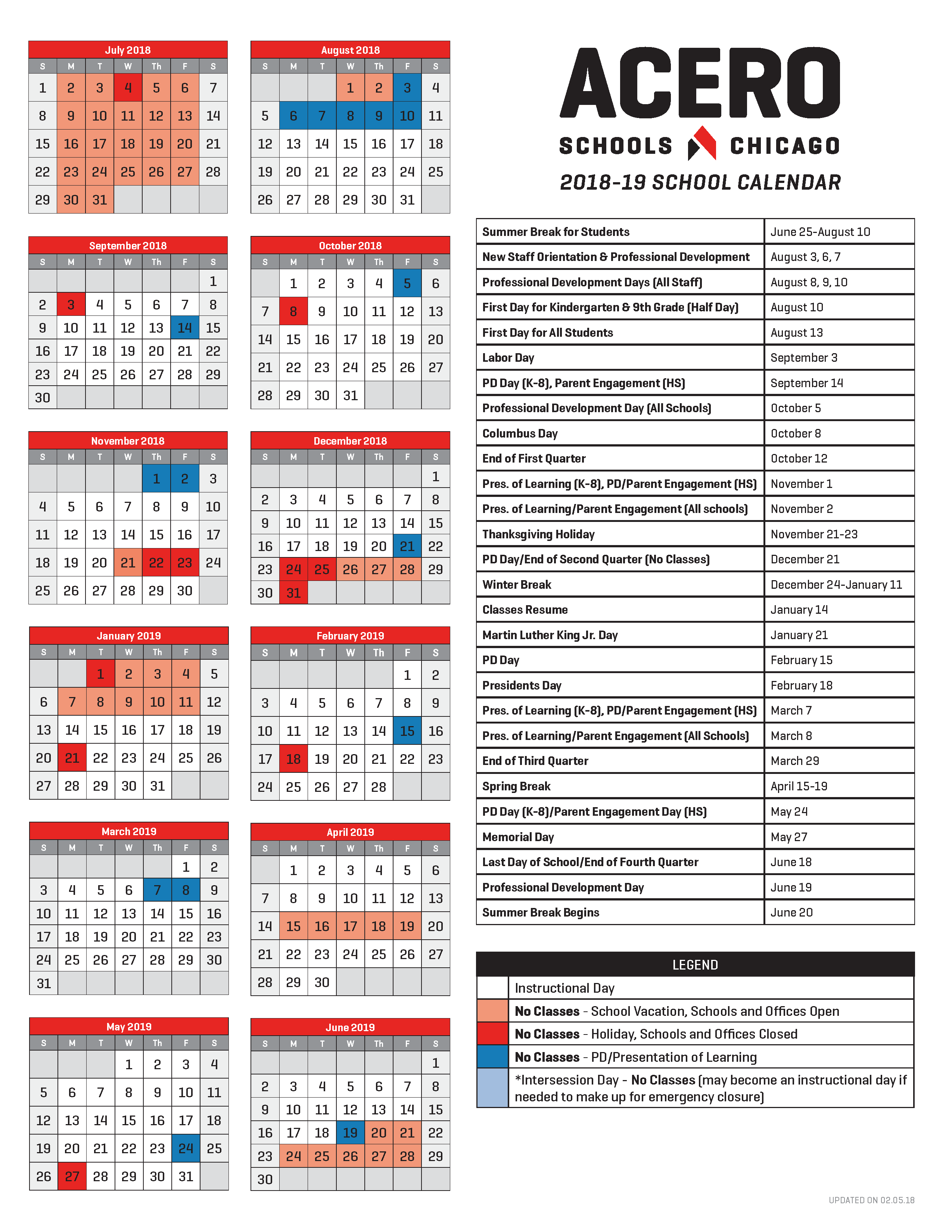 Calendars About Us Acero Schools