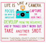 Life is like a camera. Focus on what is important. Capture the good times. Develop from the negatives. And if things don't work out, take another shot.