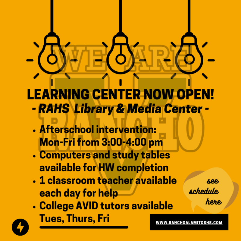 LEARNING CENTER NOW OPEN! Featured Photo