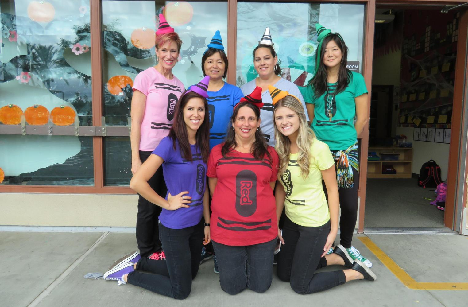 Kindergarten Staff dressed as crayons for Halloween