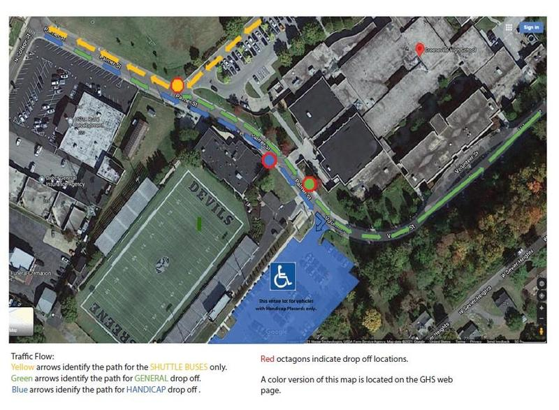 Map of GHS Traffic and Parking for Graduation