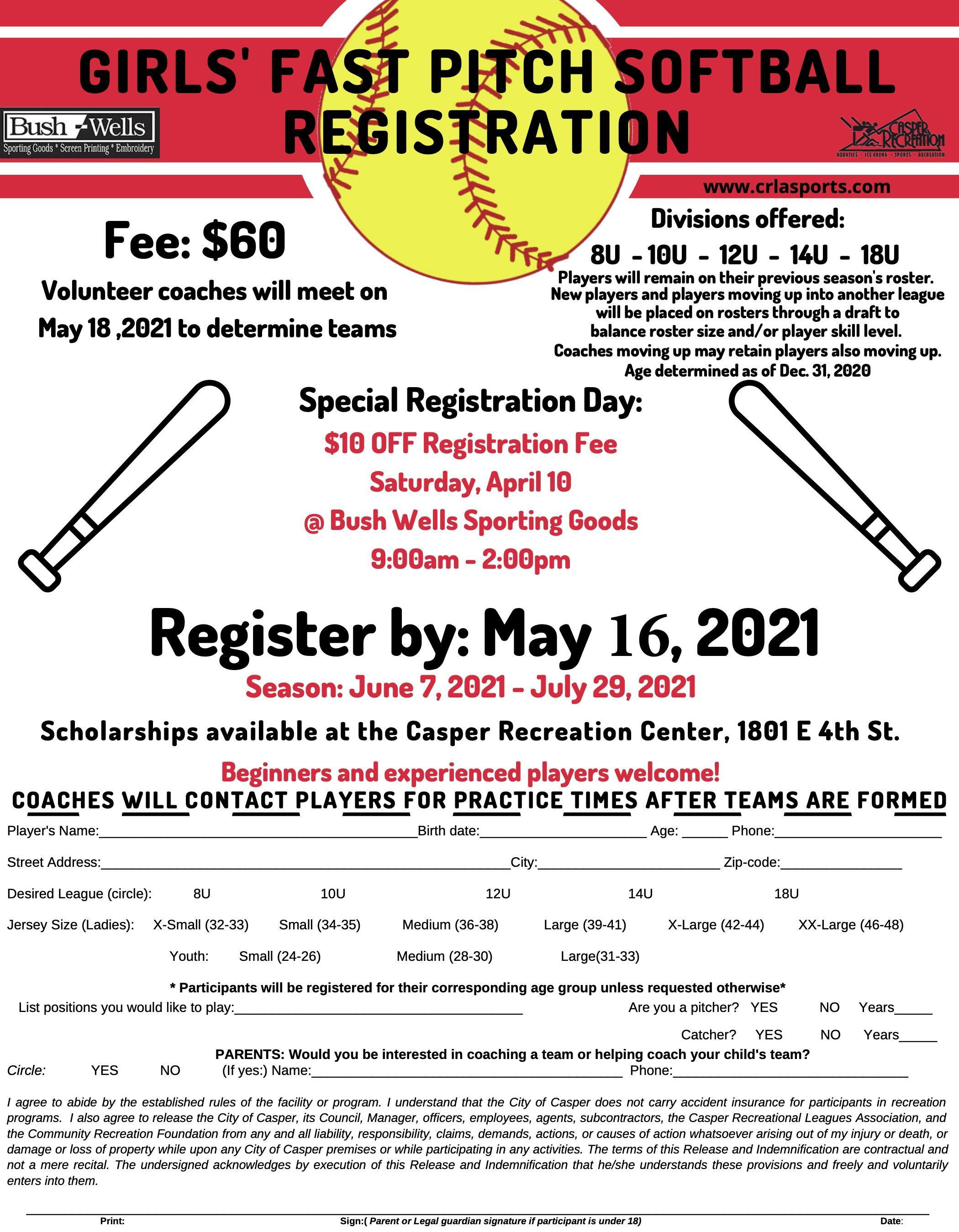 Girls Fast Pitch Softball Registration flyer