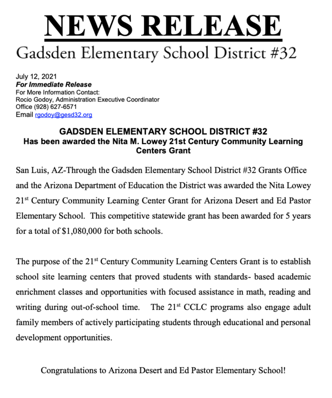 EPS receives the Nita Lowey 21st Century Grant!! Featured Photo
