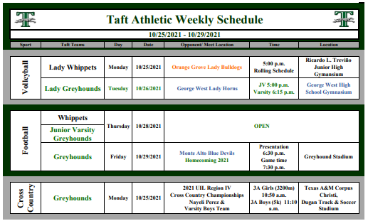 Taft Athletic Weekly Schedule Featured Photo