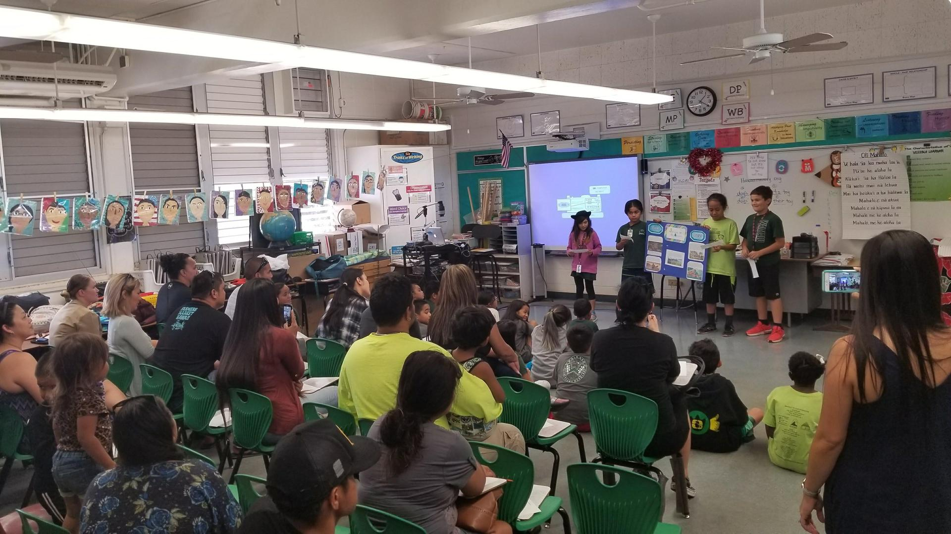 Fourth grade students present projects