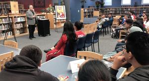"Author Roberto Rocha discusses his book ""Tamarindo Dreams: A Collection of Barrio Poetry"" with students at Edinburg High School."