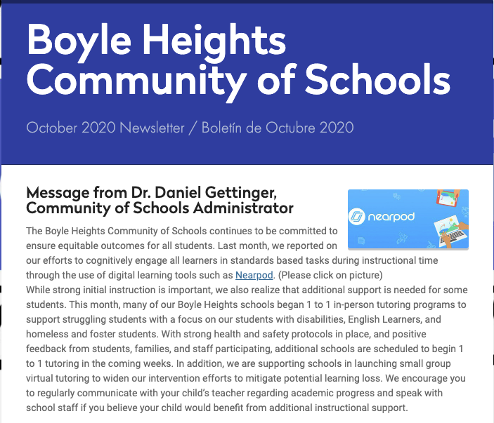 Boyle Heights Community of Schools October 2020 Newsletter Featured Photo